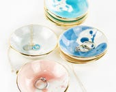 Watercolor Round Handmade ceramic ring dish adorned with 22K gold edges