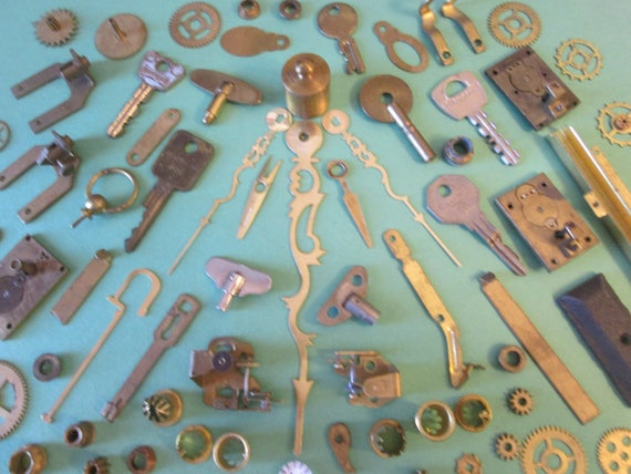 Steampunker's Dream Lot 4  Assorted Antique & Vintage Clock Parts-Hardware-Keys-Hands for your Clock Projects, Jewelry Making, Altered Art