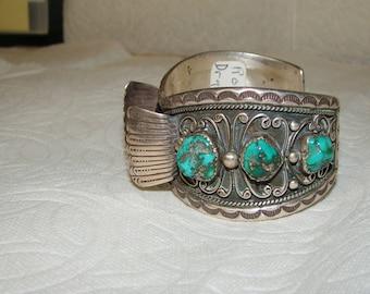 NA 3-J Sterling & Turquoise NA Watch Bracelet