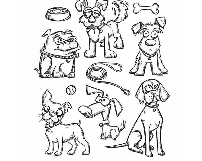 Tim Holtz CRAZY DOGS Cling Red Rubber Stamps Set CMS271