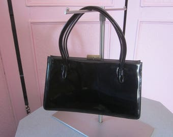 1950s Black Patent Vinyl Tailored Handbag