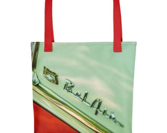 Tote bag - Red Silo Original Art - Chevy Bel Air 1
