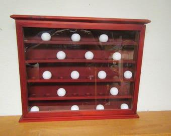 Wood GOLF BALL Display  Shelf With Glass Door, Golfball Rack,  Curio shelf, Shadow Box, Display Case , holds 40 golf balls