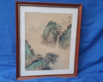 Vintage Oriental Landscape Print. Waterfall.