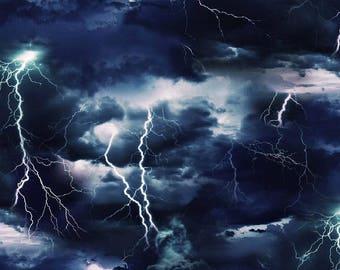 Landscape Medley Lightning Bolt Thunder Storm Black Fabric #7104 By the Yard