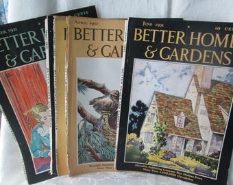 Vintage Better Homes and Gardens Magazine Covers, 1931, 1932, 1934, Six Different Covers, Well Known Artists