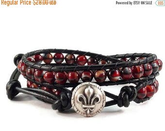 SALE Leather Wrap Bracelet Red and Black Glass Beads Fleur de Lis Beaded Jewelry