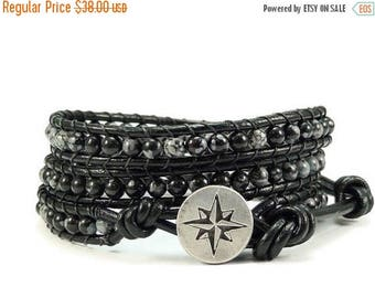 SALE Leather Wrap Bracelet Snowflake Obsidian Gemstones Compass Button Black Beaded Jewelry