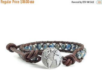 SALE Leather Wrap Bracelet Earth Button Blue Beaded Jewelry