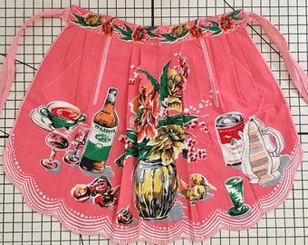 60's Vintage Kitsch New unworn pink vintage half apron