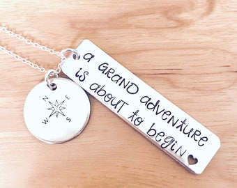 Adventure BFF necklace Travel necklace, compass, Road Trip Necklace on Sterling Chain