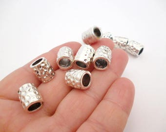Large Solid Silver Tone Tube Metal Beads_NAC54000545/6587_Large Silver Beads_Tube of 12x10 mm hole 7 mm _ pack 10 pcs