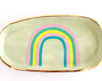 Gold Vanity Tray, Gold Ceramic Jewelry Tray, Rainbow Ring Dish, Rainbow Decor, Gold Gift for Home, Lapel Pin Display, Jewelry Organizer