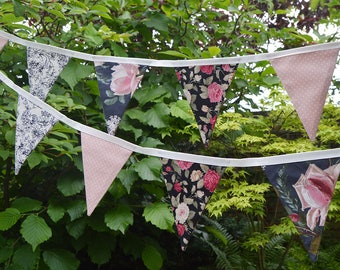 Handmade Fabric Bunting Red/Pink La Vie en Rose/Pink Rose Buds/Black & Cream Scroll with Pink/White Pin Dot Design 16 Double-Sided Flags