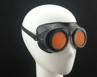 Cyber Rubber Goggles with Orange Lenses minion goggle cyberpunk aviator sunglasses cosplay glasses cyber goggles goggles punk goggles