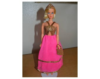 1977 Vintage Barbie Super Rare Sears Exclusive #2054 Superstar Era Fuchsia gold pink dress gown accessories - Mattel outfit Exc shape!