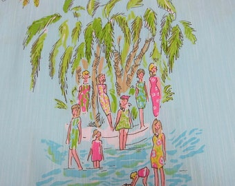 "18"" x 18"" Lilly Pulitzer Dobby Cotton Fabric In The Slim Hard to Find"