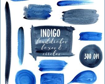 Blue Clipart Brushstrokes, Indigo, Blue Brushstrokes, Brushstrokes Clipart, Blue Watercolor Brushstrokes, Watercolor Logo Backgrounds
