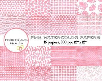 Pink Watercolor Paper, Digital Paper, Watercolor, Pink, Rose, Patterns, Scrapbook Paper, Digital Scrapbook, Paper Craft, Digital Paper Pack
