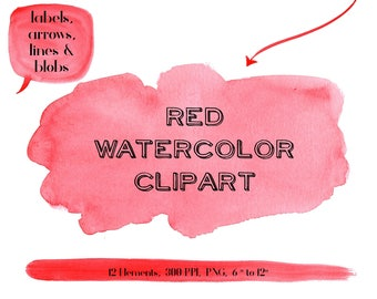 Red Clipart Labels, Red Watercolor Clipart, Red Digital Scrapbook, Red Watercolor Elements, Red Watercolor Textures