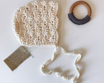 The Michele Bonnet // Cream // Size 0-3 Months // Ready to Ship