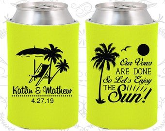 Neon Yellow Wedding, Neon Yellow Can Coolers, Neon Yellow Wedding Favors, Neon Yellow Wedding Gift, Neon Yellow Party Decorations (449)