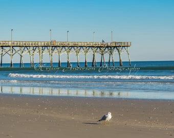 Jolly Roger Pier Photo, Topsail Beach Pier Photography,  Topsail Photo,Ocean Pier Photo, Beach, Ocean Photography, 5x7, 6x9,8x10,8x12 Print
