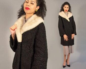 50s 60s Persian Lamb Coat with White Mink Collar - Vintage Fur Coat Black and White Car Coat Long Coat Fifties Sixties Curly Lamb Swakara