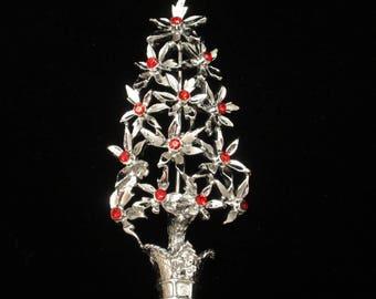 Christmas Tree Pin Brooch Vintage Rhinestones