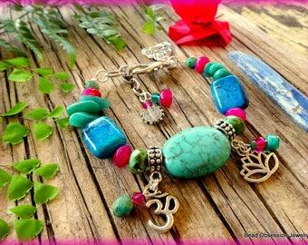Boho Bracelet; Hippie Bracelet; Turquoise Bracelet; Om Bracelet; Bohemian Bracelet; Yoga Jewelry; Festival Jewelry; Australian Seller