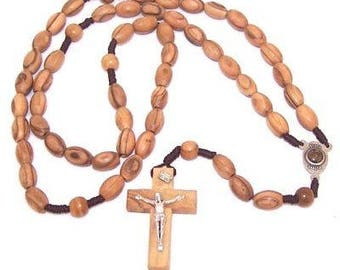 Long Threaded olive wood Rosary with 12mm oval beads and Soil Center - Velvet...