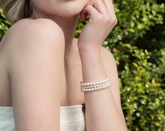 Pearl cuff bracelet, 3 strand pearl bracelet, pearl bridal bracelet, wedding bracelet pearl, bridal cuff bracelet - Laura