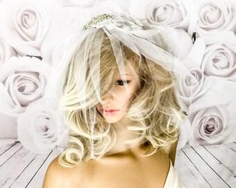 Wedding veil, White Birdcage veil, crystals birdcage veil, large birdcage veil, small veil,