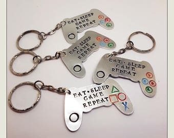GAMER. XBOX. PLAYSTATION Inspired Keyring.Controller.  Video Games.   Hand stamped.