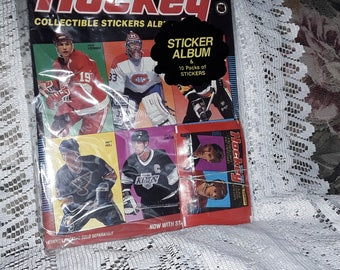 Panini 91-92 Hockey Collectible Sticker Album with 10 sticker pack Vintage new sealed old stock