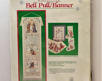 """Dimensions Nativity Bell Pull counted cross stitch 6"""" x 21"""" kit #8406 Vintage 1990"""
