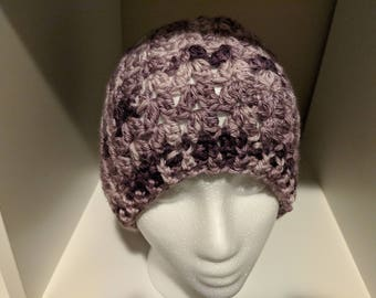 Violet - messy bun beanie = pony tail hat = shades of purple