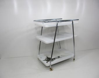 Kitchen Cart,Vintage Rolling Kitchen Cart,Cosco White and Chrome Serving Cart,Metal Cart, Bar Cart