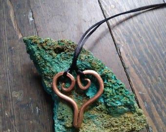 Heart Pendant in Copper, Necklace