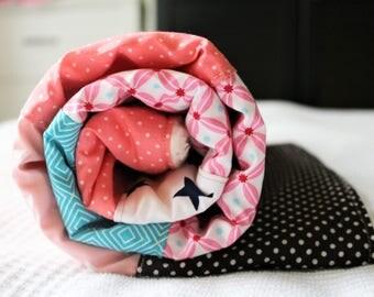 Pink light blue baby blanket, Winter patchwork babyblanket