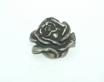Rose Button. Pewter button. Size 1""