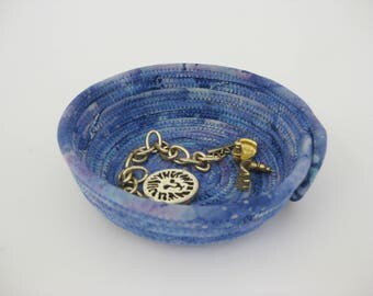 Hand Coiled Fabric Bowl, Small Blue Basket