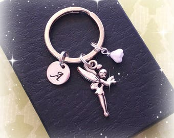 Initial fairy charm keyring - Christmas fairy keychain - Personalised Christmas gift - Fairy keyring - Christmas wish - Stocking filler