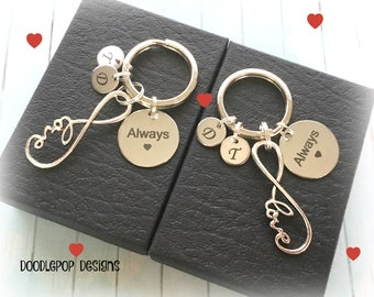 Personalised couple keyrings - Infinity keychains - Gift for couple - Anniversary gift - Always keychains - Couple gift - Engagement gift
