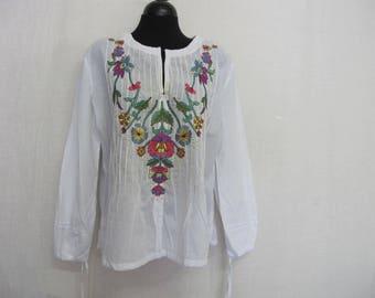 Peasant Blouse Embroidered Cotton Gauze Blouse Hippie Blouse Boho