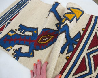 Superior New Mexican Weaving Chimayo Mexican Rug Southwestern Rug Mexican Table  Runner Gecko