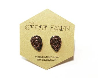 Rust Teardrop Shaped Galaxy Druzy Stud Earrings