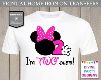 INSTANT DOWNLOAD Print at Home Hot Pink Mouse I'm Twodles Printable Iron On Transfer / T-shirt / 2nd Two Birthday / Item #2335