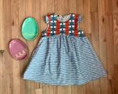 Girls Easter Bunny Dress / Girls Alphabet Dress / Spring Dress / Easter Dress / Baby's First Easter Dress / Girls A-Line Dress / Size NB-6
