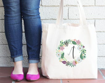 Floral Wreath Initial Personalized Tote Bag // Bridesmaid Flower Personalized Tote Bag Custom Bridesmaid Canvas Bag // Wedding Gift Tote Bag